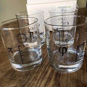 Cocktail glasses with math equations